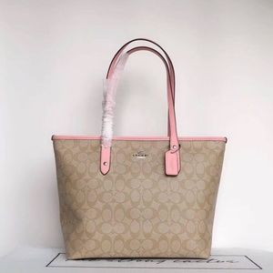 Coach Zip Tote Shoulder Bag Signature khaki pink